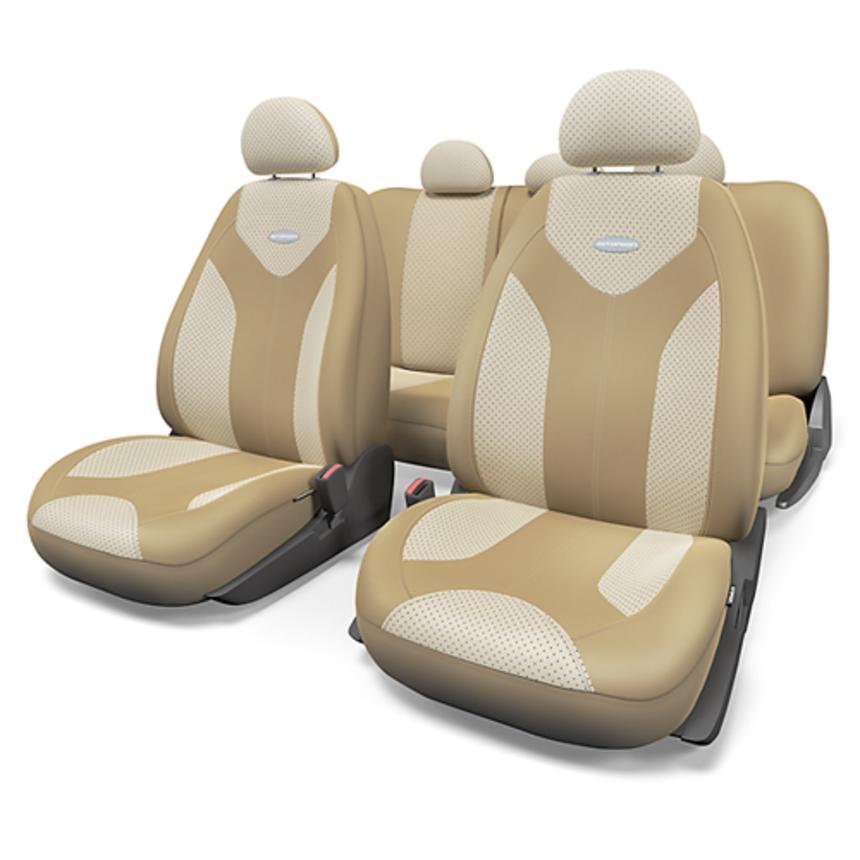 Чехлы на сиденья универсальные экокожа MATRIX MTX-1105G D.BE/L.BE (S) фото