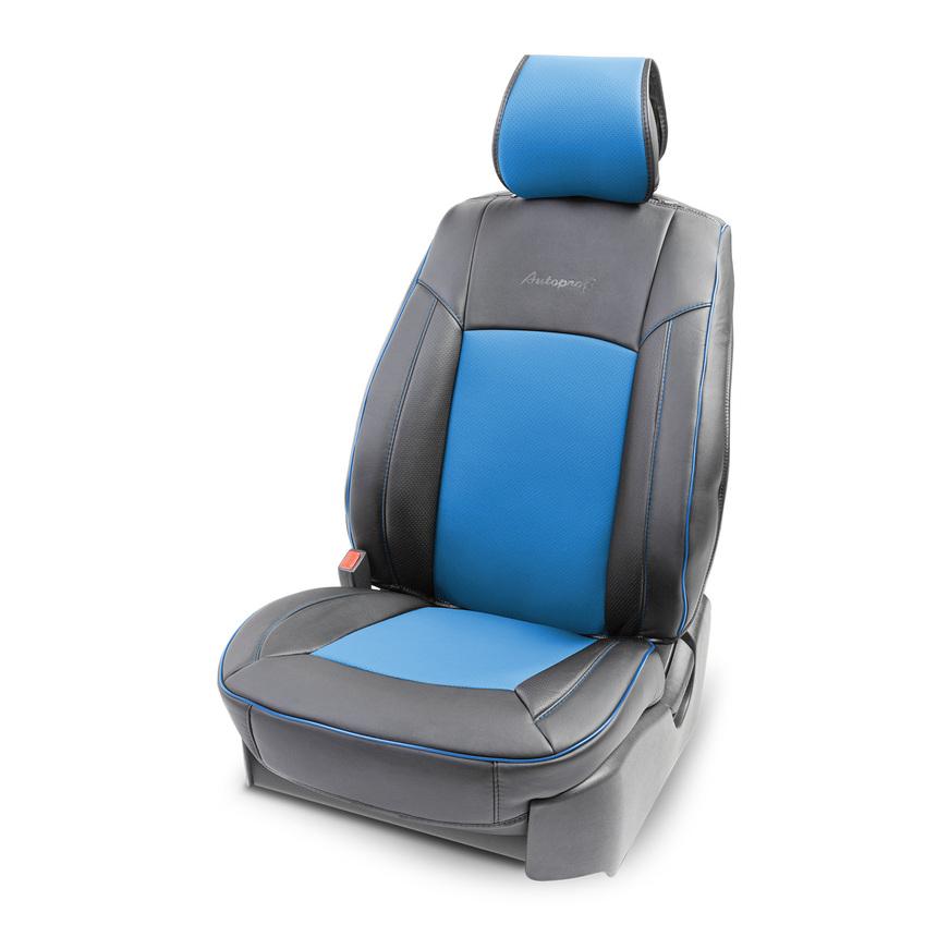 Накидка на сиденье каркасная AUTOPROFI экокожа HIT-310G BK/BL фото