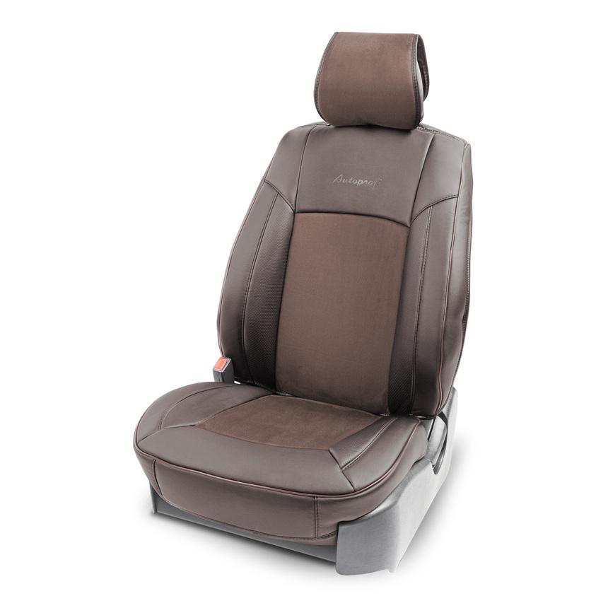 Накидка на сиденье каркасная AUTOPROFI экокожа/алькантара HIT-310A BR/BR фото