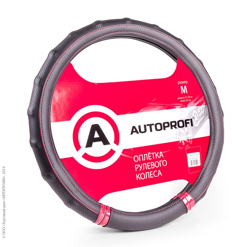 Оплётка руля AUTOPROFI AP-1410 BK/RD (M) фото