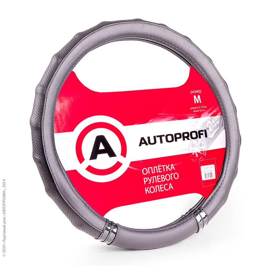 Оплётка руля AUTOPROFI AP-1410 BK/BK (M) фото