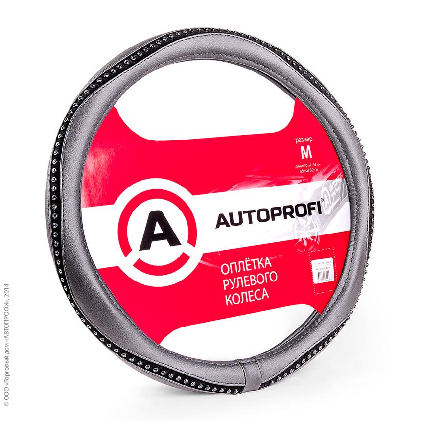Оплётка руля AUTOPROFI AP-1414 BK/BK (M) фото